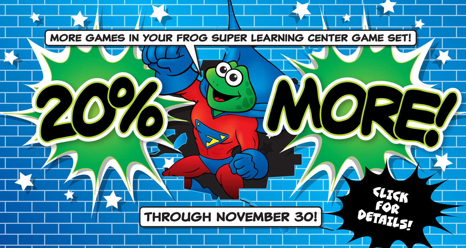 Get 20% more games in your Frog Super Learning Center Game Set!